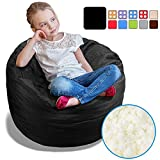 BeanBob Bean Bag Chair (Limo Black), 2.5ft - Bedroom Sitting Sack for Kids w/Super Soft Foam Filling