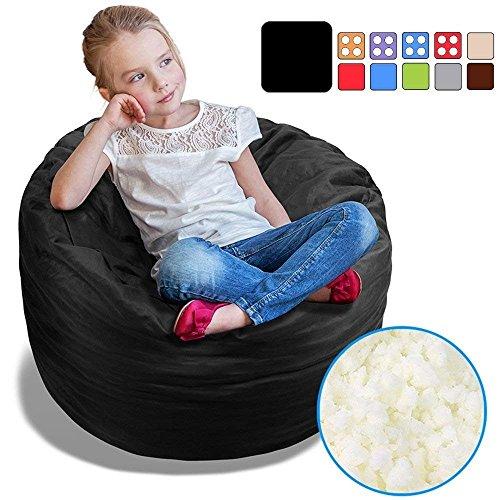 BeanBob Bean Bag Chair (Limo Black), 2.5ft - Bedroom Sitting Sack for Kids w/Super Soft Foam Filling by BeanBob