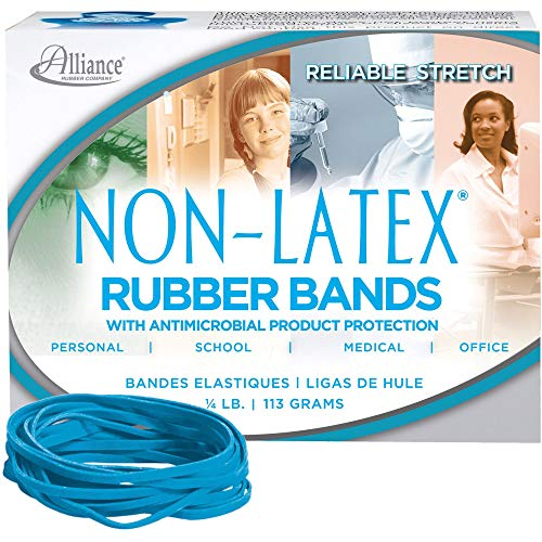 (Alliance Rubber Company Inc. Antimicrobial Rubber Bands, Size 33, 3-1/2 x 1/8 Inches, Cyan Blue, 1/4 Pound Box (42339))