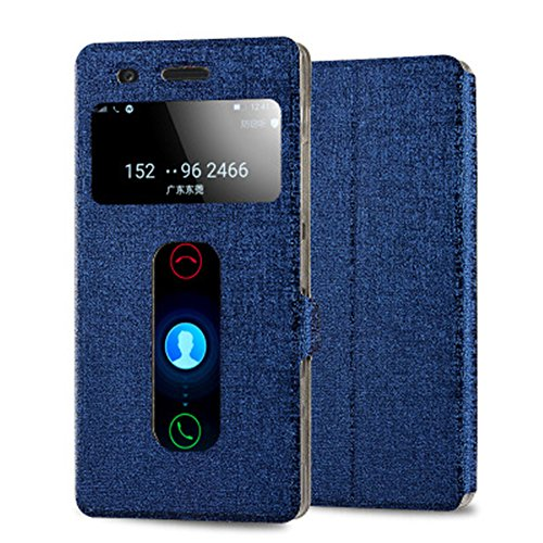 Tip-top Pu Leather and View Double Window Flip Skin Case Cover for Lenovo Vibe Shot/Z90-7 5 inch (Blue)