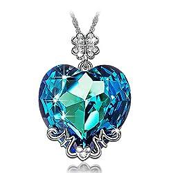 Blue Heart Swarovski Crystals Pendant Necklace