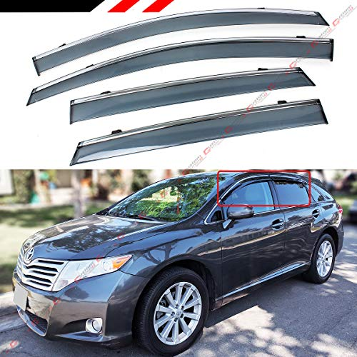 - Fits for 2008-2017 Toyota Venza Clip on Type Smoke Tinted Door Window Visor W/Chrome Trim