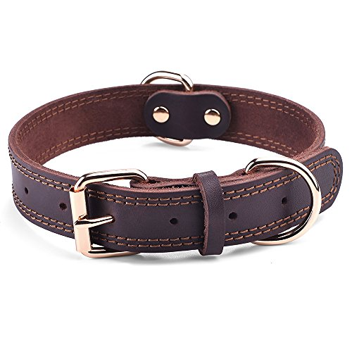 DAIHAQIKO Leather Dog Collar Genuine Leather Alloy Hardware Double D-Ring Dual Stitching 3 Best for Medium Large and Extra Large Dogs (S, Brown)