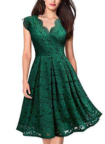MISSMAY Women's Vintage Floral Lace Short Sleeve V Neck Cocktail Party Swing Dress, X-Large, Green
