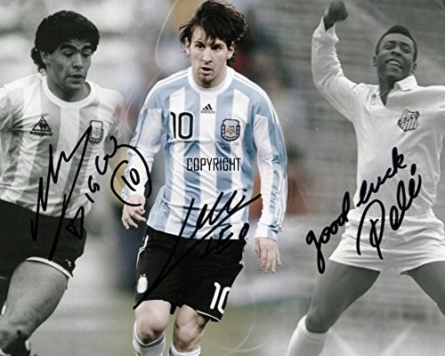LIMITED EDITION MARADONA MESSI PELE SIGNED PHOTOGRAPH + CERT PRINTED AUTOGRAPH