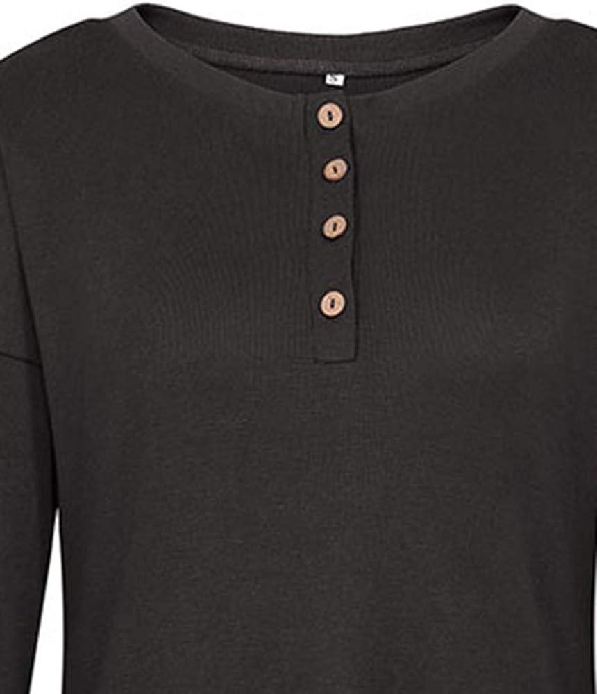 Luiyy® Camiseta de Manga Larga/Corta para Mujer Botón Design Blusa ...
