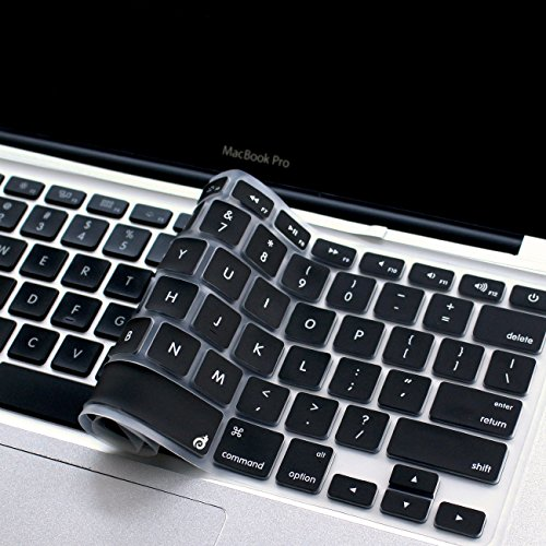 Masino Silicone Keyboard Cover Ultra Thin Keyboard Skin for MacBook Air 13 MacBook Pro with or Without Retina Display 13 15 17, Not Compatible with New MacBook Air 13 2018 (1 PCS, Black)