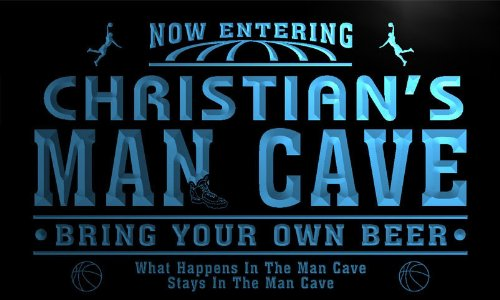 qc1564-b Christian's Man Cave Basketball Neon Sign by AdvPro Name