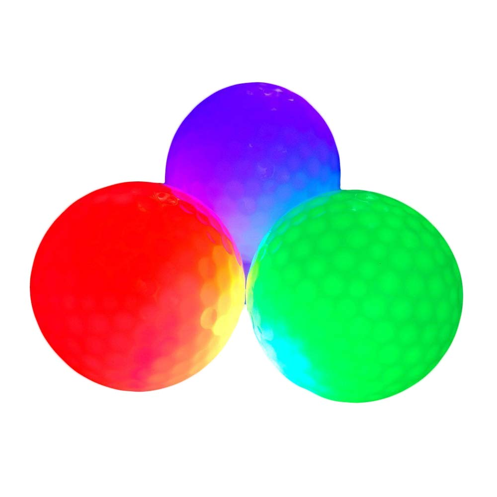 Glow Golf Balls, ZLIXING Led Golf Balls Novelty Golf Ball Funny Golf Ball Colored Golf Balls, Light up Golf Balls Professional Practice Golf Balls Glow in Dark for Night Sports (3 Pices)