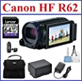 Canon VIXIA HF R62 Full HD Camcorder Bundle, includes: 64GB SDXC Memory Card, Card Reader, 2-Hour Spare Battery, Pocket Tripod, CA-110 Compact Power Adapter, Small Camcorder Bag, Lens Cleaning Kit