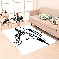 Sophiehome skid Slip rubber back antibacterial Area Rug elegant woman wearing hat vector illustration black and white stylized portrait of a beautiful 527144281 Home Decorative