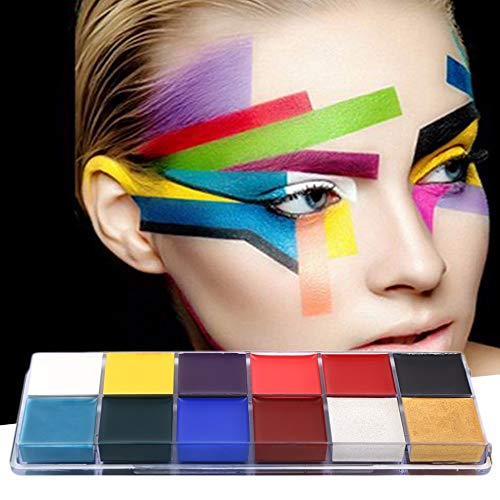 Linker Wish Face Paint Stencils Professional 1 Set 12 Colors Flash Tattoo Face Body Paint Oil Painting Art ()