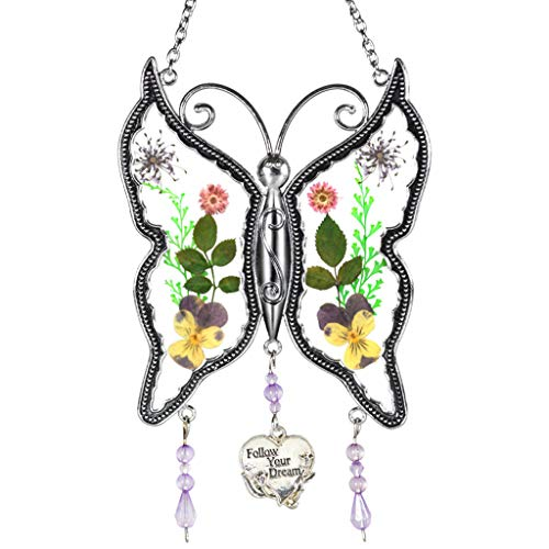 DEESEE(TM)New Butterfly Glass Wind Chime with Pressed Flower Wings Embedded in Glass (C)