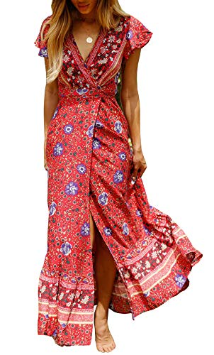 928f97f693 R.Vivimos Women s Summer Short Sleeve Floral Print Bohemian Beach Waist Tie  Wrap Long Flowy Dress with Slit (Large
