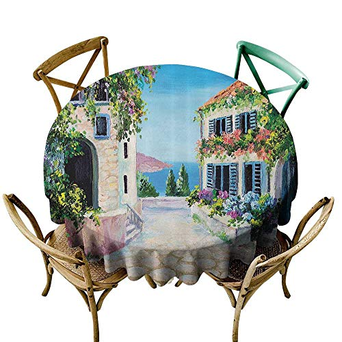 one1love Water Resistant Table Cloth Lakehouse Decor Collection Retro Greek Houses in an Ancient Village Near Sea with Colorful Plants Around Oil Painting Stain Resistant, Washable 70 INCH Blue