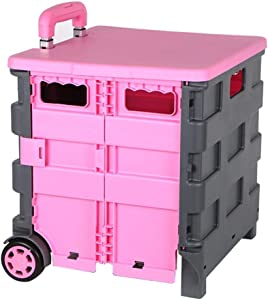 SHIJIAN Folding Shopping Cart with Wheels Collapsible Hand Rolling Crate Grocery Cart for File Office Travel (Color : Pink)
