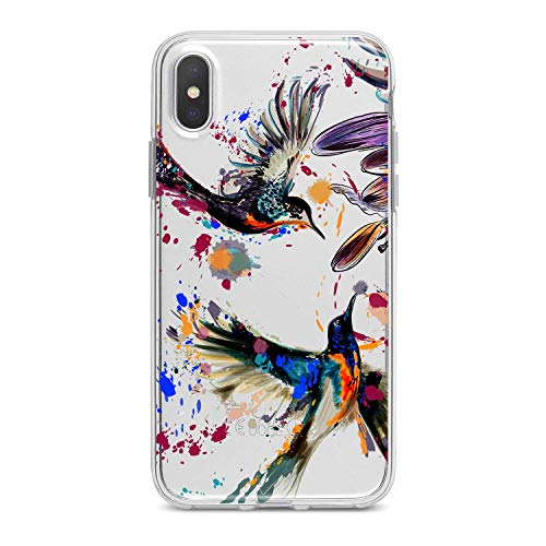 (Lex Altern TPU Case for iPhone Apple Xs Max Xr 10 X 8+ 7 6s 6 SE 5s 5 Gift Slim fit Cover Phone Clear Soft Flexible Lux Girl Lightweight Colorful Design Smooth Print Lovely CuteBeautiful Hummingbird)