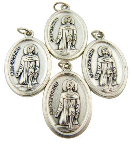 bulk-lot-of-4-patron-of-cancer-saint-peregrine-1-inch-silver-tone-medal-pendant
