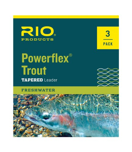 Rio Fly Fishing Power Flex-Knotless 7.5' 6X-3 Pack Fishing Leaders, Clear