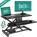 EleTab Electric Height Adjustable Standing Desk Converter Sit to Stand up Power Riser 32'' Black Tabletop Workstation fits Dual Monitor