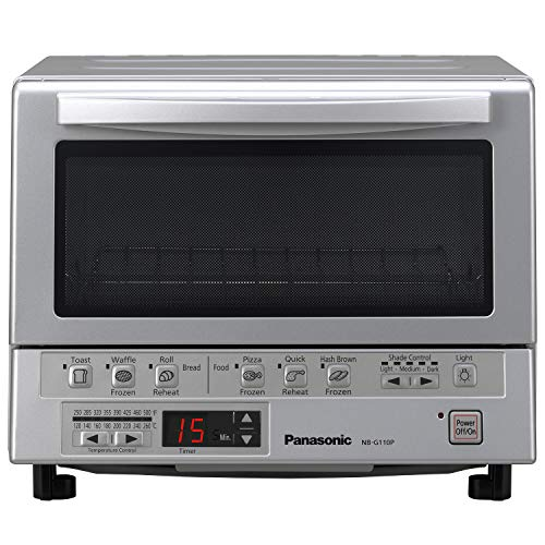Panasonic NB-G110P Toaster Oven FlashXpress with Double Infrared Heating and Removable 9-Inch Inner Baking Tray, Silver, 1300W