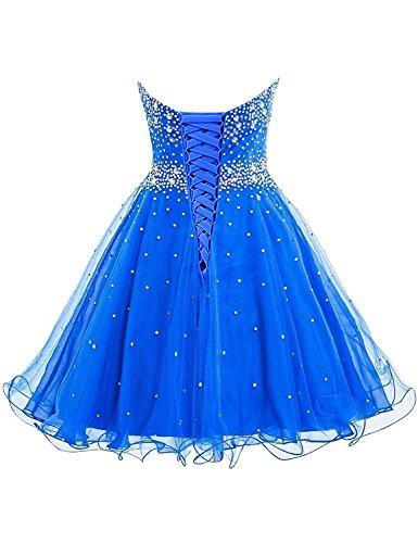 Reale Donne Delle Diansheng Damigella Perline Abiti Blu Breve Dell'abito Tulle Promenade Breve Da TgAwPqz6