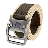 Ayliss Fashion D-Ring Buckle Thicken Canvas Belt Casual Waistband,Stripe Khaki