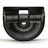 Women Bamboo Purse Handmade Handbag Large Tote Bag Black