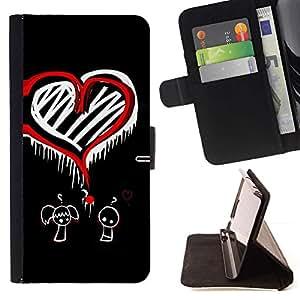 Momo Phone Case / Flip Funda de Cuero Case Cover - Arte Amor Pregunta Corazón Marcos Rojo Ni?o Ni?a - HTC Desire 626