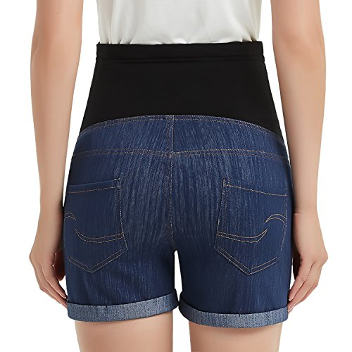 GINKANA High Waist Maternity Denim Shorts Cotton Summer Over Belly Pregnancy Shorts Linen Pants by GINKANA (Image #1)