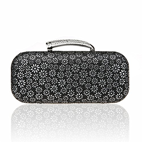 KAXIDY Damentasche Tasche Unterarmtasche Perlen Schneeflocke-Muster Handtasche Abendtasche Für Party Hochzeit (Blau) Schwarz