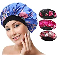 4 Pack Soft Satin Sleeping Cap Wide Band Salon Bonnet Silk Night Sleep Hat Hair Loss Cap Waterproof Bath Caps Women…