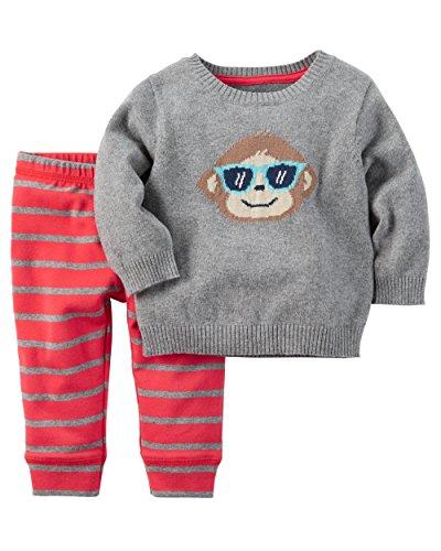 Carter's Boy's Monkey 2-Piece Little Sweater Set; Grey & Striped (NB) (Red Monkey Striped)