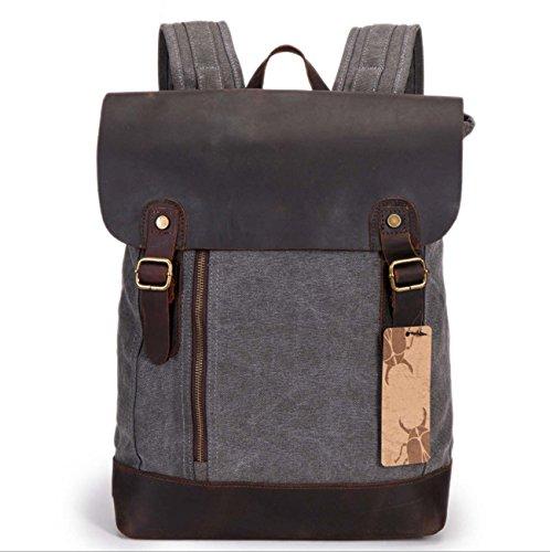 Mochila de lona mochila retro al aire libre mochila de gran capacidad bolsa casual negro