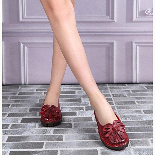 Btrada Vrouwen Vintage Handwerk Bloemen Loafers Zachte Ronde Neus Rijden Mocassins Antislip Platte Bootschoenen Rood