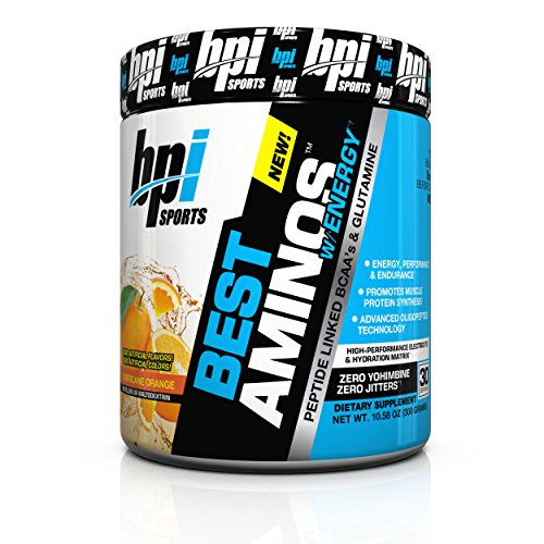 BPI Sports Best Aminos with Energy Peptide Linked BCAAs and Glutamine Supplement, Hurricane Orange, 10.58 Ounce
