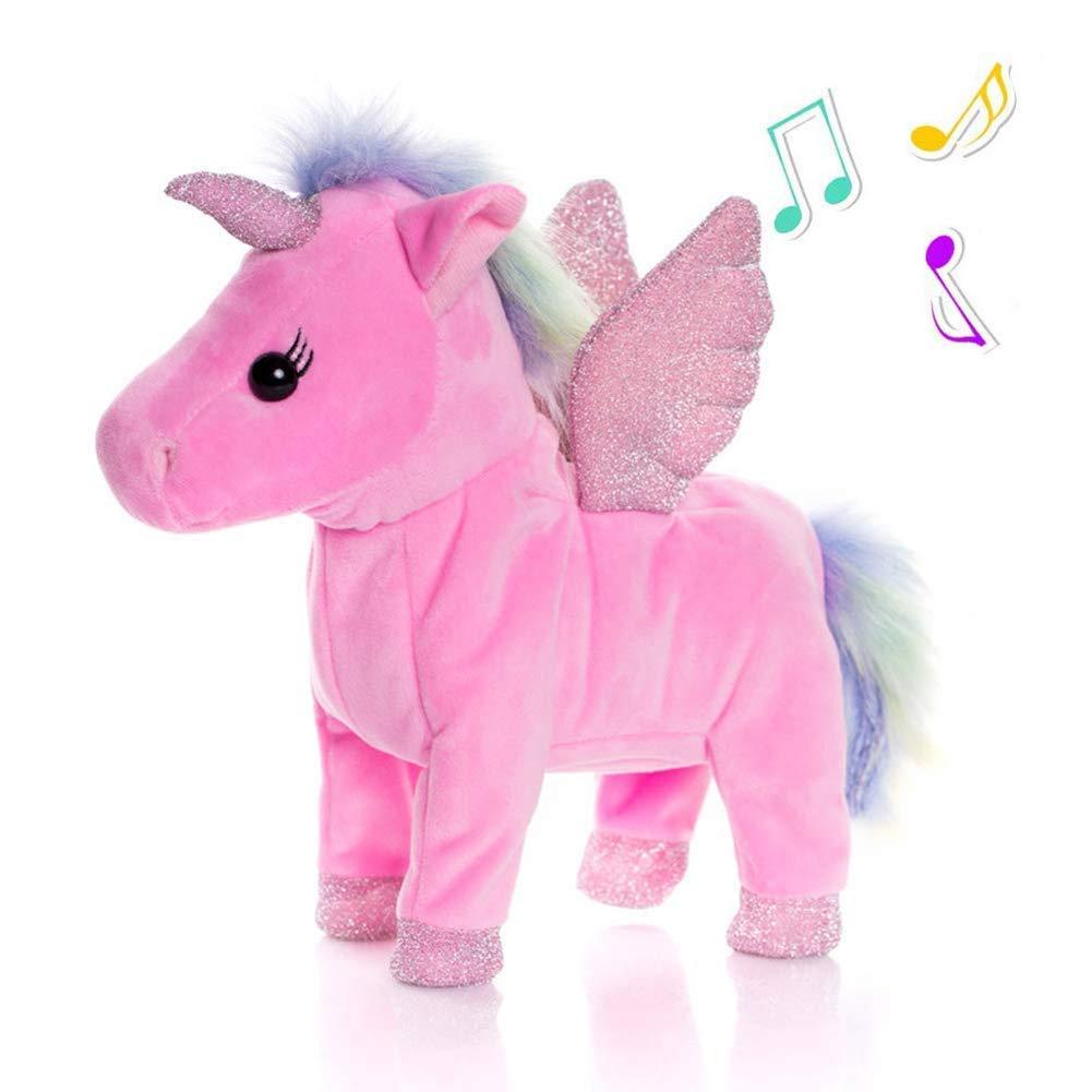 SLONG Plush Unicorn Child Toy Glowing Wings Singing and Walking Pony Electronic Pet Robot Girl Boy