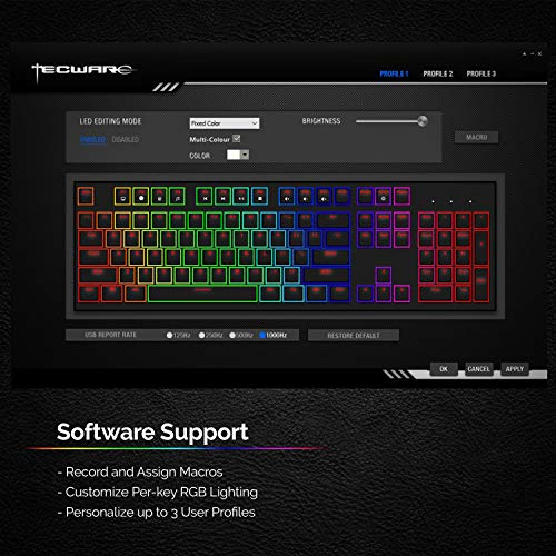 TECWARE Phantom 104 Mechanical Keyboard, RGB LED (Outemu Red)