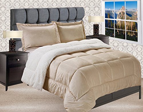 Elegant Comfort Premium Quality Heavy Weight Micromink Sherpa-Backing Reversible Down Alternative Micro-Suede 3-Piece Comforter Set, King, Solid Gold (Gold Bedding Luxury)