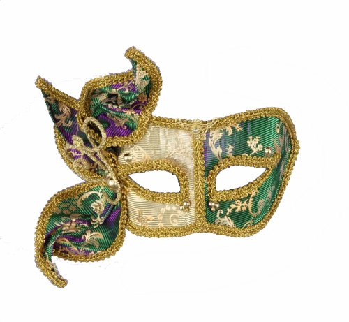 Magic Color Mardi Gras Deluxe Half Mask, Green/Gold/Purple, One Size