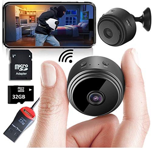 Mini Spy Camera Wireless Hidden Home WiFi Security Cameras with App 1080P, Inc 32GB SD Card + Plus More. Night Vision Motion Activated Indoor Outdoor iPhone/Android Phone Small Nanny Cam for Cars etc ()