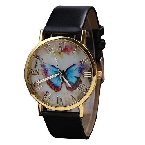Womens Butterfly Style Leather Band Analog Quartz Wrist Watch Black - 6
