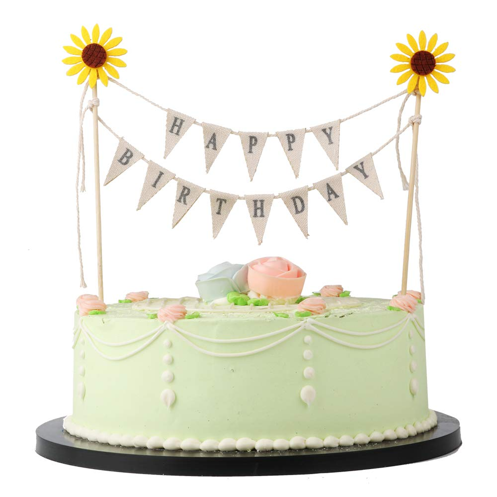 LVEUD Manual Assembly Completed Yellow Sun Flower Happy Birthday Cake Banner Topper Garland Handmade Pennant Flags With Wood Pole Ivory Pink Roses And