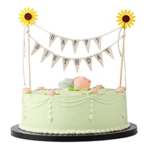 LVEUD Manual assembly completed Yellow Sun Flower Happy Birthday Cake Banner Cake Topper Garland, Handmade Pennant Flags with Wood Pole Ivory Pink Roses and sunflower (Yellow Sun flower)
