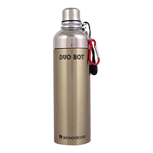 Duo-Bot Stainess Single Wall Bottle Water, Gold, 1000ml