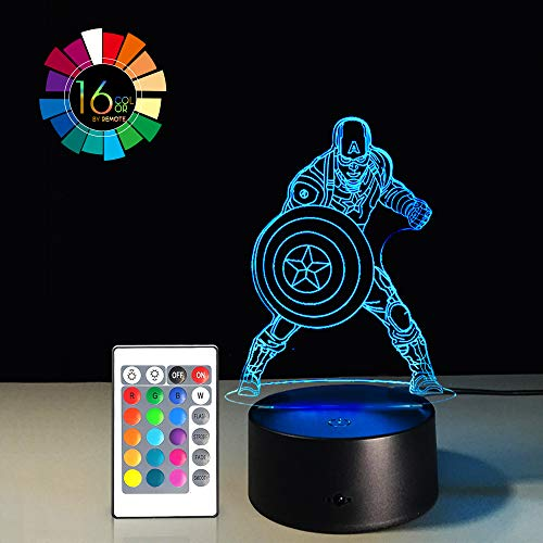 Control Captain (3D LED Night Light Lamps Illusion 3D Optical 7 Colors Touch Visual Lamp for Table Desk Home Decoration with Remote Controller (American Captain)(1PC))