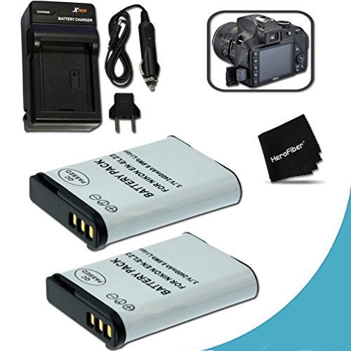2 High Capacity (Replacement) Nikon EN-EL23 / ENEL23 Batteries + Quick Rapid AC/DC Charger Kit for Nikon Coolpix P900 P610 P600 S810c Digital Cameras Dc Quick Charger