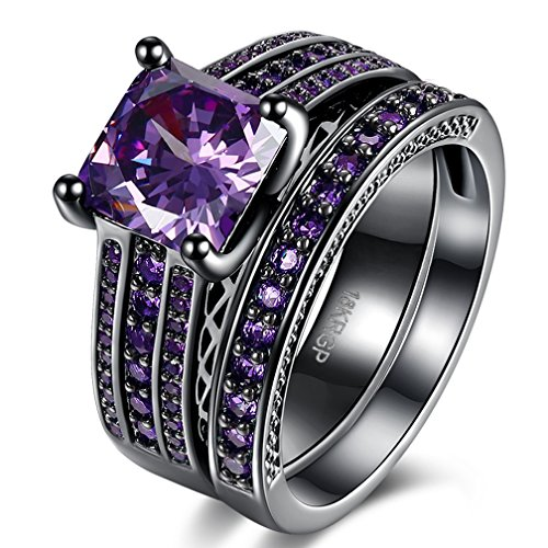 Women Best Friend Rings Set 18K Black Gold Plated Princess Cut Created Amethyst Diamond Engagement Wedding Ring Sets Fashion Jewelry Christmas Gifts Size 8 from SAINTHERO