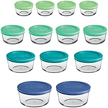 Anchor Hocking 12895ECOM Classic Glass Food Storage Containers With Lids,  Mixed Blue, 26 Piece Set