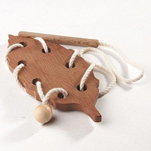 Learning toy Threading set Fine Motor skills toy Beechwood Leaf Wooden Lacing Toy